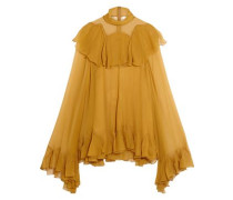 Ruffled Silk-crepon Turtleneck Blouse Mustard