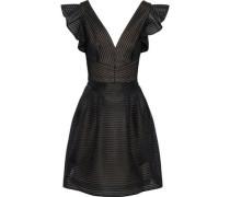 Satin-appliquéd tulle mini dress