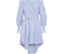 Lou Off-the-shoulder Striped Cotton-poplin Mini Dress Blue