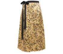 Woman Grosgrain-trimmed Printed Satin-crepe Midi Wrap Skirt Gold