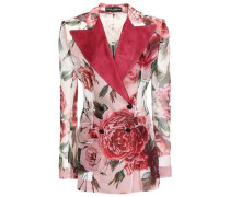 Double-breasted Satin-trimmed Floral-print Silk-organza Blazer Baby Pink
