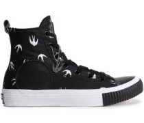 Leather-trimmed Printed Neoprene High-top Sneakers Black