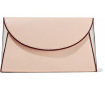 Suede-paneled leather envelope clutch