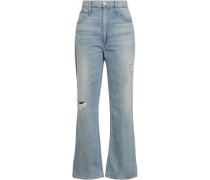 Addie Distressed High-rise Flared Jeans Light Denim  5