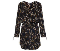Rory Pleated Printed Silk Crepe De Chine Mini Dress Black Size 0