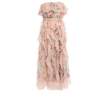 Woman Strapless Printed Silk-georgette Midi Dress Peach