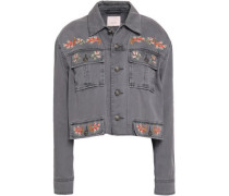 Folk Canyon Cropped Embroidered Denim Jacket Anthracite