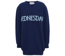 Intarsia Wool And Cashmere-blend Sweater Navy