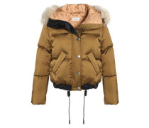 Shearling-trimmed quilted shell down hooded coat