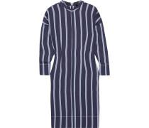 Woman Striped Twill Dress Navy