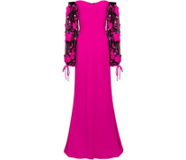 Off-the-shoulder Embellished Tulle And Crepe Gown Fuchsia