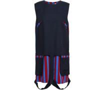 Cutout Paneled Cotton-blend Twill Mini Dress Midnight Blue