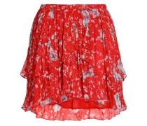 Floral-print Crepe Mini Skirt Red