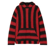 Baja Striped Wool-blend Hooded Sweater Red