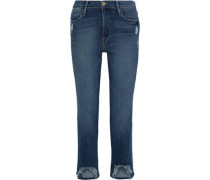 Woman Le High Cropped Distressed High-rise Straight-leg Jeans Mid Denim