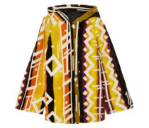 Printed Shearling Hooded Poncho Multicolor