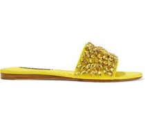 Abbey Crystal-embellished Satin Slides Yellow