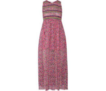Smocked Floral-print Silk-georgette Midi Dress Pink