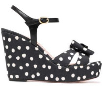 Bow-embellished Leather And Polka-dot Canvas Wedge Sandals Black