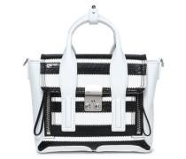 Striped elaphe and leather shoulder bag