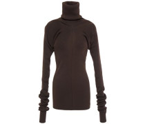 Woman Ribbed-knit Turtleneck Sweater Chocolate