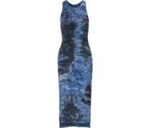 Tie-dye ribbed-knit midi dress