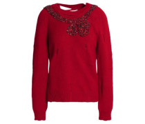 Embellished distressed wool and cashmere-blend sweater
