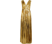 Surinam Pleated Silk-blend Lamé Maxi Dress Gold