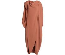 Asymmetric Draped Cady Midi Dress Light Brown