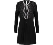 Crystal-embellished stretch-crepe mini dress