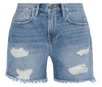 Stevie Distressed Denim Shorts Light Blue  5