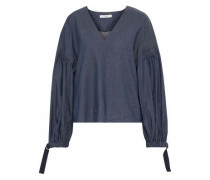 Cotton-blend chambray blouse