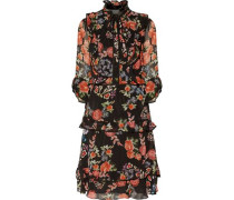 Ruffled floral print chiffin dress
