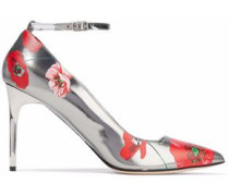 Floral-print mirrored-leather pumps