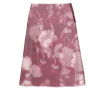Floral-print Pvc Midi Skirt Grape
