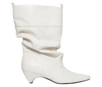 Snake-effect Faux Leather Boots White