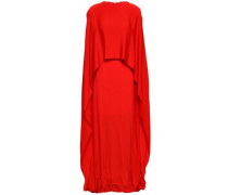 Cape-effect Crepe Gown Red