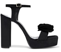 Woman Floral-appliquéd Suede Platform Sandals Black