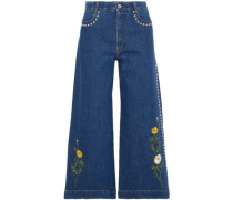 Embroidered studded denim culottes