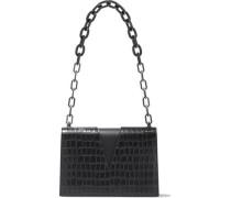 Woman V Cutout Croc-effect Leather Shoulder Bag Black