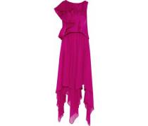 Layered ruffled satin and silk-chiffon gown