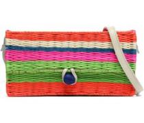 Striped straw shoulder bag