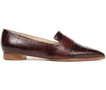 Glossed-leather slippers