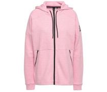 Mélange Printed Cotton-blend Jersey Hoodie Baby Pink