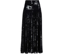 Sequin-embellished organza maxi skirt