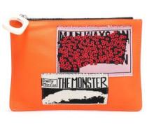 Appliquéd Leather Pouch Bright Orange Size --