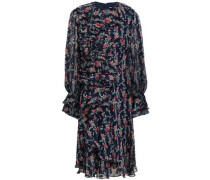 Ruffled Floral-print Georgette Dress Navy Size 0