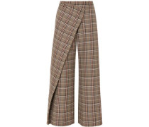 Woman Wrap-effect Checked Wool-blend Canvas Wide-leg Pants Brown