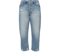Cropped Distressed Boyfriend Jeans Mid Denim