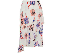 Ruffled floral-print silk wrap midi skirt